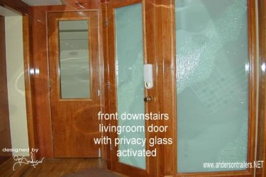 Privacy glass in opaque or closed mode in a motorhome trailer