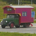 Old wooden motorhome in France