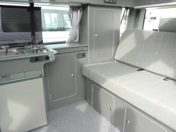 The interior of a Bilbo's VW converions. Excellent fit and finish, clever, careful design and it looked very durable.