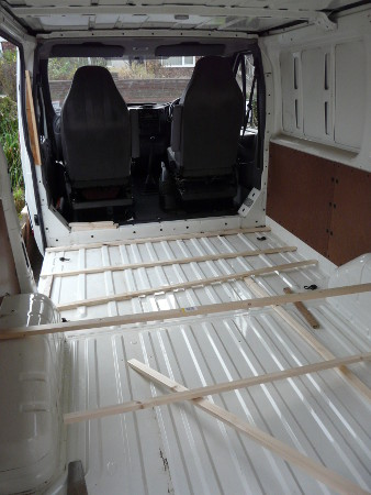 Van floor before insulation and boarding