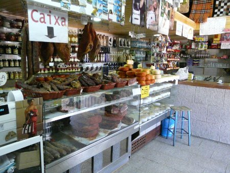 Traditional hams and cheeses for sale