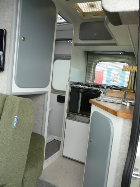 The Piccolo has decent-sized kitchen and bathroom facilities (for a MWB panel van)
