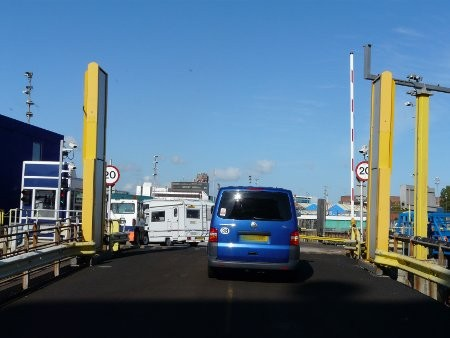 Disembarking from the ferry in Portsmouth