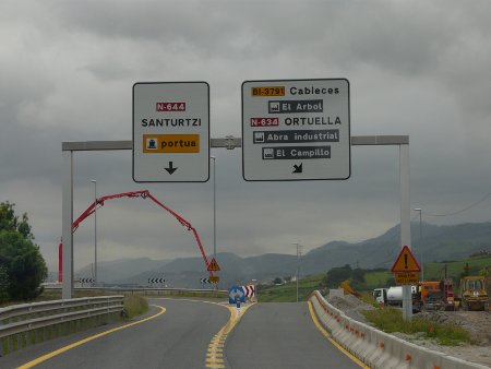 Homeward bound... following signs for Santurtzi port for the Bilbao-Portsmouth ferry