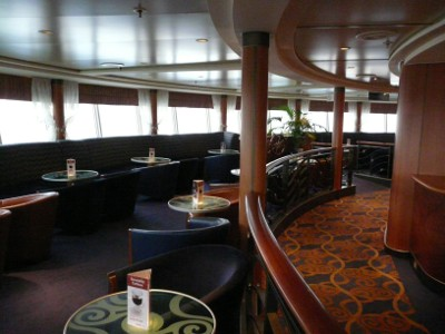 The bar on the top deck of the Hull-Rotterdam ferry - a pleasant place in the evening