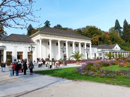 Part of casino building in Baden-Baden, these people were waiting to enter an art exhibition