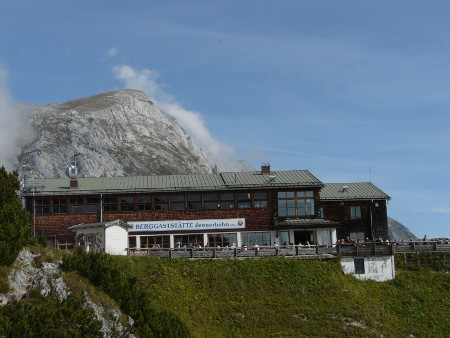 The restaurant at the top of the Jennerbahn, viewed from the footpath going down