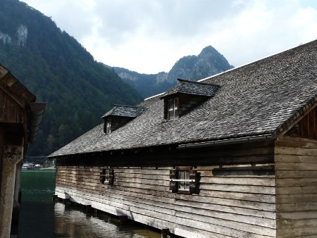 Traditional boat houses at the foot of the Konigsee
