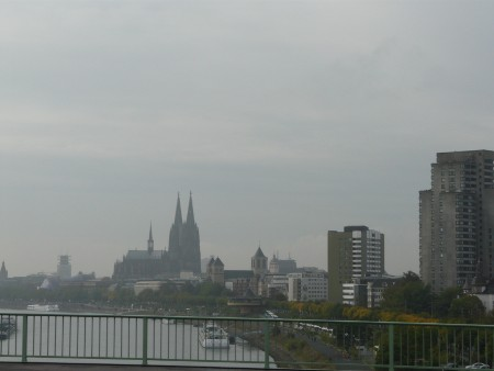Our overcast arrival in Cologne, with the cathedral dominating the skyline