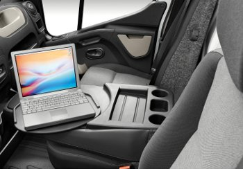 Renault Master - central passenger seat folds forward into desk