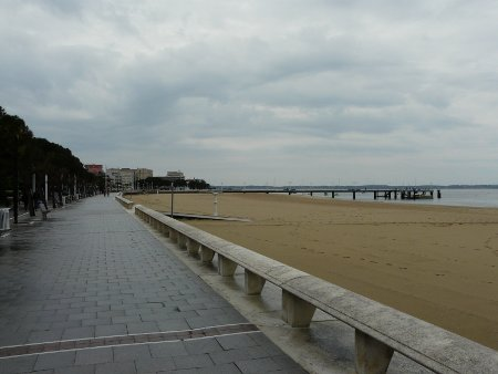 Boardwalk and beach at Arcachon, France