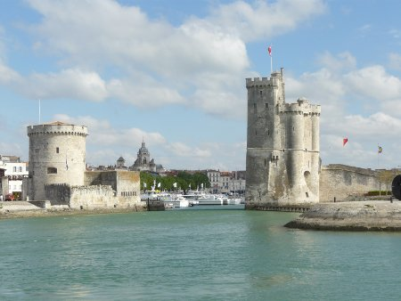 The towers marking the entrance to the old harbour at La Rochelle
