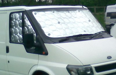 Internal silver screens fitted inside motorhome cab windows