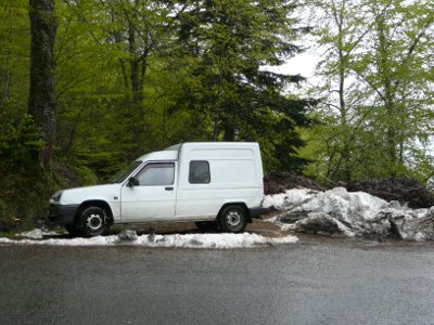 Van with snow chains in the Pyrenees