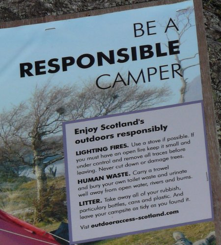 Responsible Camper Poster from Outdoor Access Scotland
