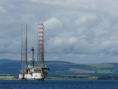 Oil rig moored in Cromarty Firth