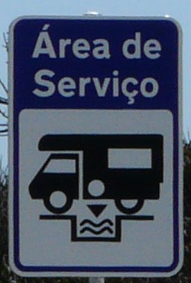 Motorhome service area sign in Portugal