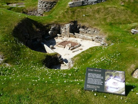 Ruins of old house in Skara Brae Stone Age village