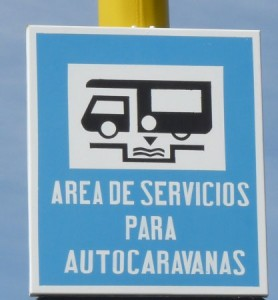 Motorhome service area sign in Spain