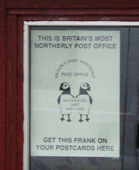 Britain's most northerly post office in Unst