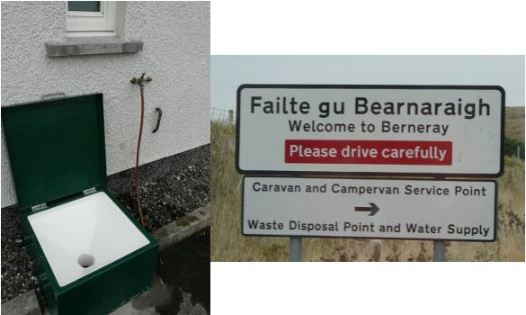 Chemical toilet disposal point at Leverburgh ferry terminal and motorhome service point sign on Berneray