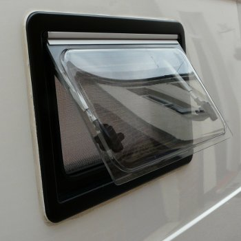 Seitz S4 motorhome window in open position