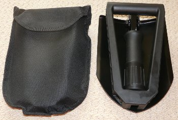 AA Emergency Snow Shovel folded up with pouch