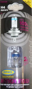 Ring Xenon Max headlight bulbs in packaging (H4)