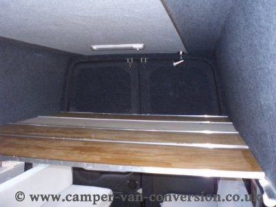 The roof bed in Colin's Ford Transit minibus conversion