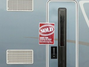 Motorhome with sold sign at Peterborough show