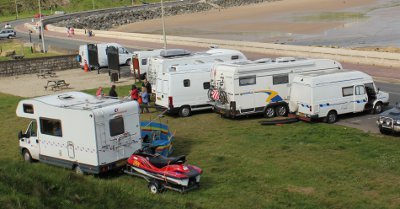 Motorhome parked on picnic area on Marine Drive in Scarborough