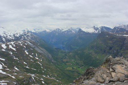 View of Geirangerfjord from top of Dalsnibba