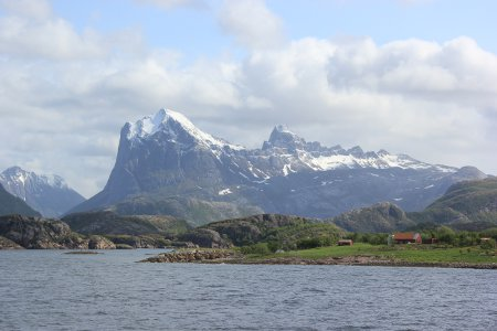 Scenery from Arctic Circle ferry in Lofoten Islands