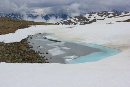 Frozen lake on the Snow Road