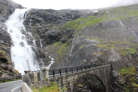 A waterfall on the Trollstigen Pass
