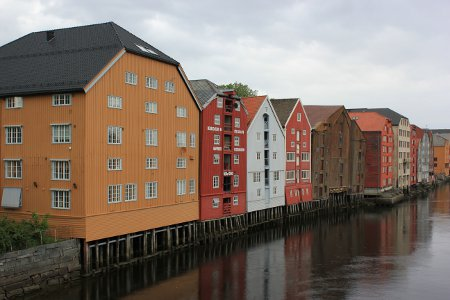 Trondheim old buildings by river