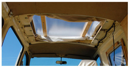 Pop-up roof seen from inside, partially fitted