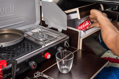 MINI Clubvan Camper gas stove and fridge