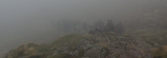 Crowds on Helvellyn in late September