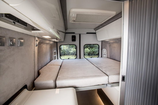 Fiat Ducato expedition camper inside with bed down