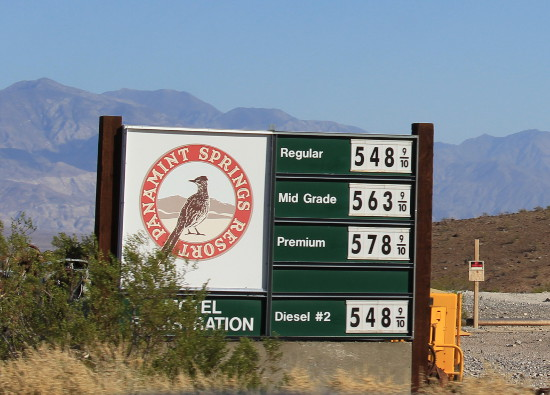Panamint Springs fuel prices Oct 2015