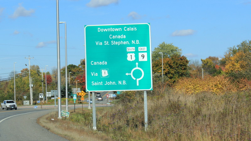 Road sign for Canada, in Maine USA