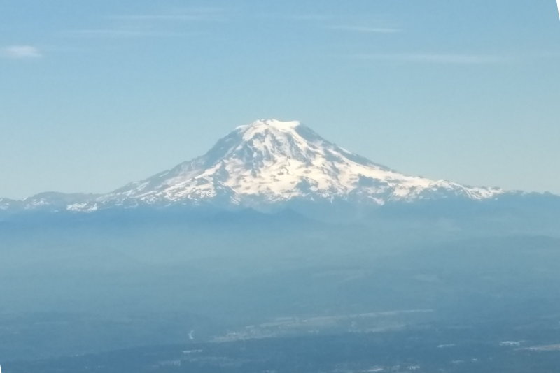 Mt Rainier, Seattle from Flight